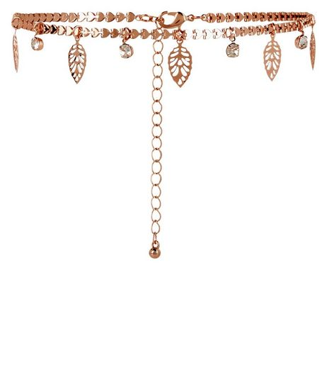 Rose Gold Cut Out Leaf Choker | New Look
