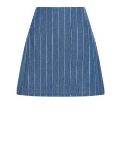 Parisian Blue Pinstripe Denim Skirt | New Look