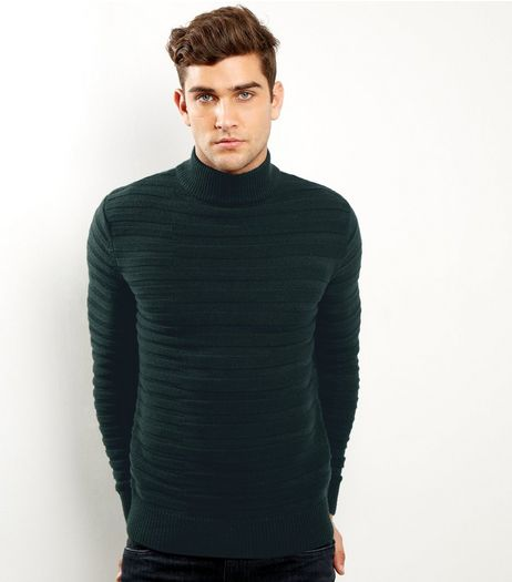 Dark Green Horizontal Ribbed Turtle Neck Jumper | New Look