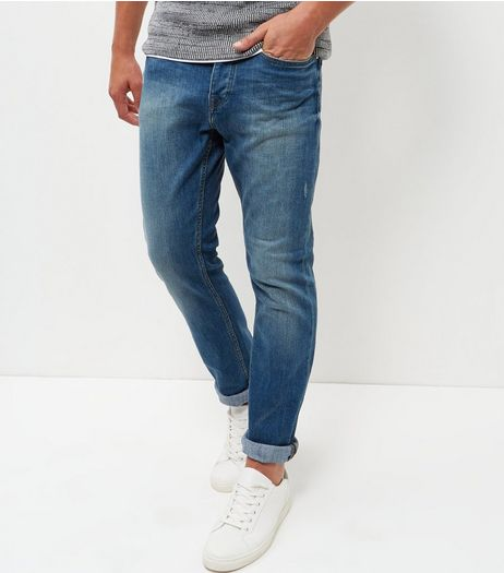 Blue Greencast Washed Slim Jeans | New Look