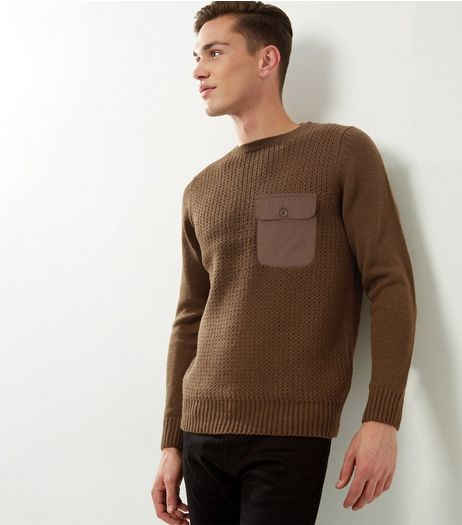 Khaki Ribbed Pocket Front Jumper | New Look