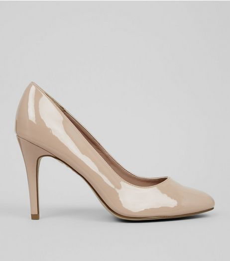 Wide Fit Cream Comfort Patent Court Shoes | New Look