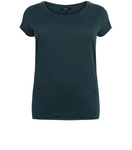 Curves Dark Green Dip Hem T-shirt | New Look