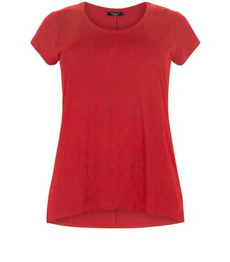 Curves Red Short Sleeve T-Shirt  | New Look