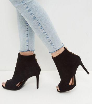 Sandalo  donna Wide Fit Black Suedette Cut Out Peep Toe Heels
