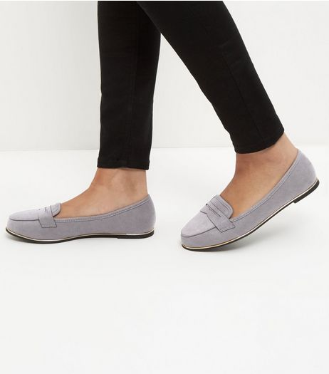 Wide Fit Grey Suedette Metal Trim Loafers  | New Look