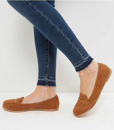 Wide Fit Tan Suedette Metal Trim Loafers | New Look