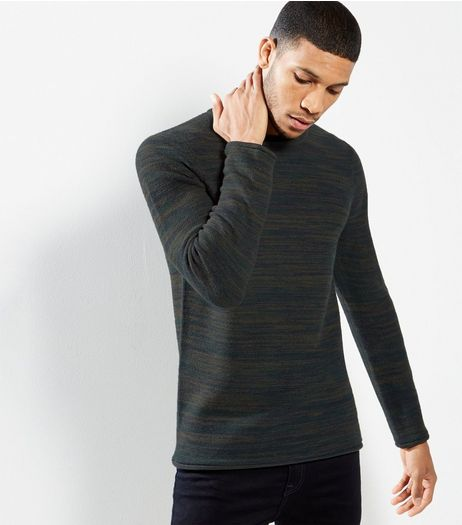 Green Space Dye Crew Neck Jumper | New Look