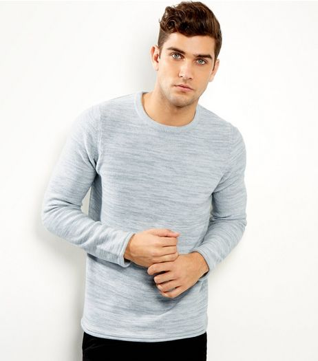 Grey Space Dye Crew Neck Jumper | New Look