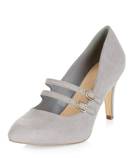 Wide Fit Grey Suedette Double Strap Front Heels | New Look