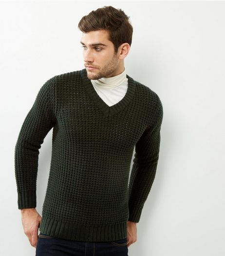 Dark Green V Neck Long Sleeve Jumper  | New Look
