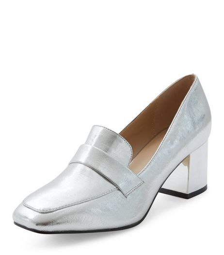 Silver Block Heel Loafers  | New Look