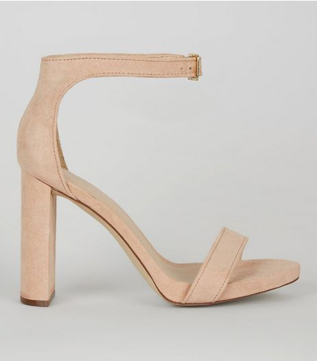 Pink Suedette Buckle Strap Heels | New Look