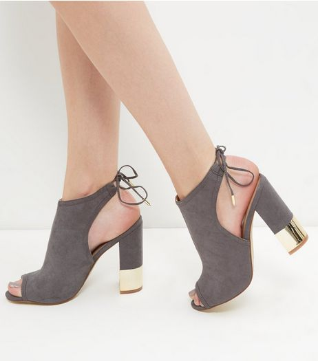 Grey Suedette Peep Toe Metal Trim Block Heels  | New Look