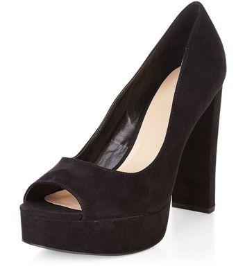 Sandalo  donna Black Suedette Peep Toe Platform Heels