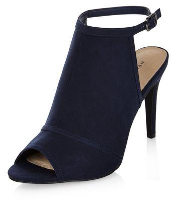 Sandalo  donna Navy Comfort Suedette Peep Toe Heels