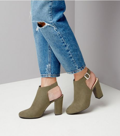 Khaki Suedette Sling Back Block Heels | New Look