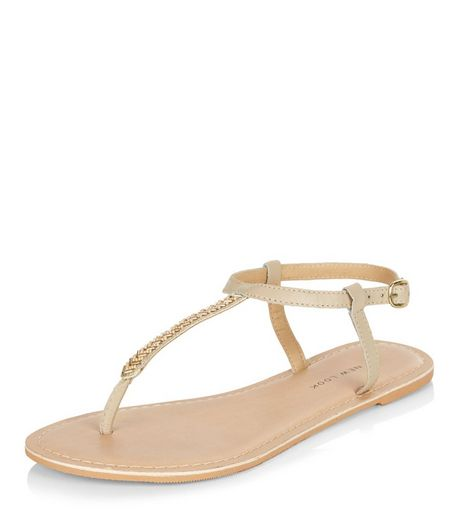 Wide Fit Nude Leather Bead Trim Sandals  | New Look