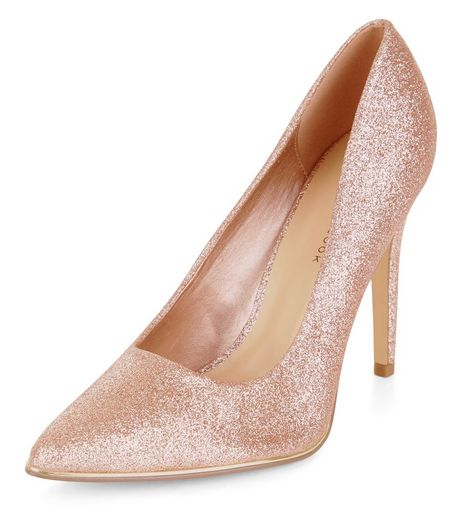 Wide Fit Pink Glitter Pointed Court Shoes  | New Look