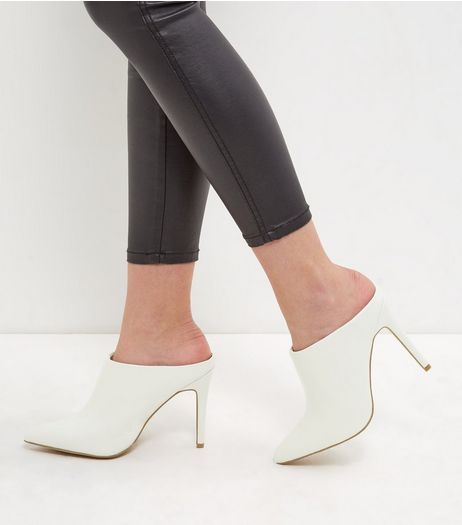 Cream Pointed Mules  | New Look