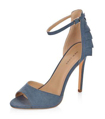 Sandalo  donna Pale Blue Suedette Ruffle Trim Ankle Strap Heels
