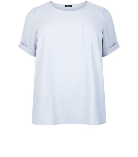 Curves Grey Roll Sleeve Boxy T-Shirt | New Look