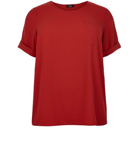 Curves Red Roll Sleeve Boxy T-Shirt | New Look