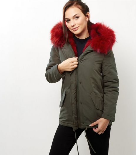 Blue Vanilla Khaki Contrast Fur Trim Parka | New Look