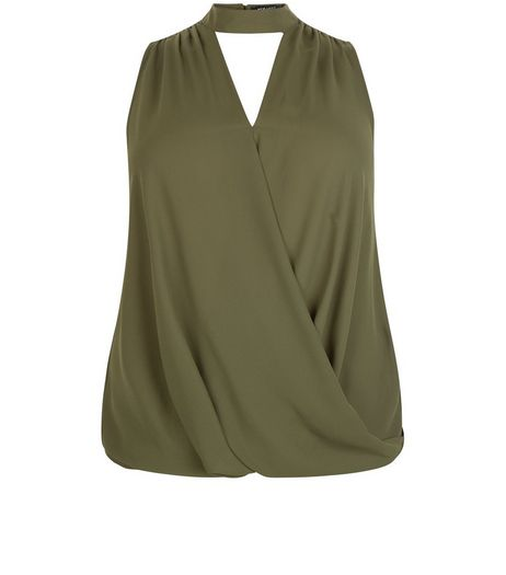 Curves Khaki Cut Out Wrap Top | New Look