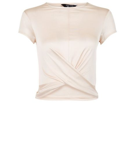 Teens Shell Pink Twist Front T-Shirt | New Look