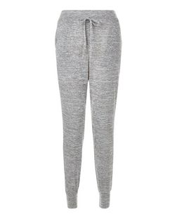 Grey Space Dye Drawstring Joggers  | New Look