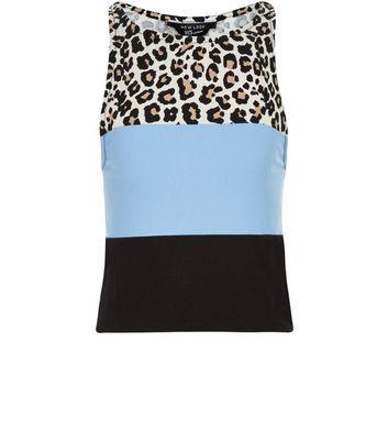 Teens Brown Leopard Print Colour Block Vest