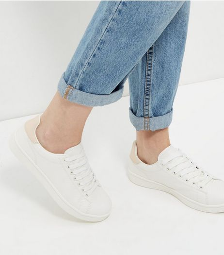 White Contrast Panel Lace Up Trainers | New Look