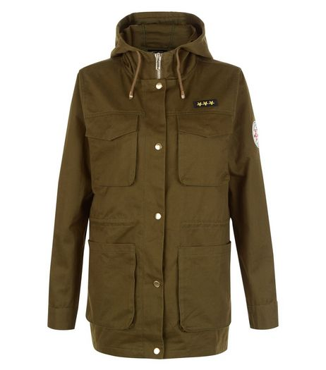 Khaki Pocket Front Badge Sleeve Shacket | New Look