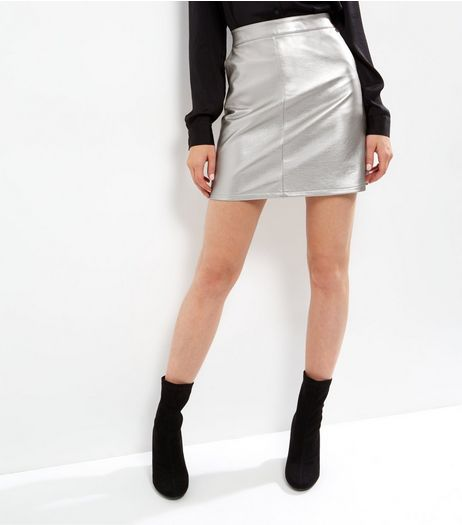 Anita and Green Silver Metallic Leather-Look Skirt  | New Look