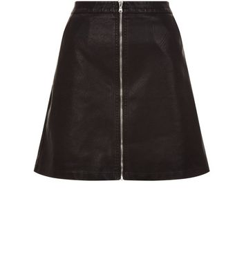 Anita and Green Black Leather-Look Zip Front Skirt