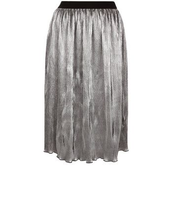 Gonna  donna Anita and Green Silver Pleated Midi Skirt