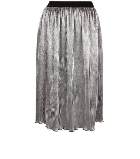 Anita and Green Silver Pleated Midi Skirt | New Look