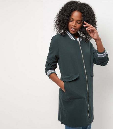 Anita and Green Dark Green Longline Bomber Jacket | New Look