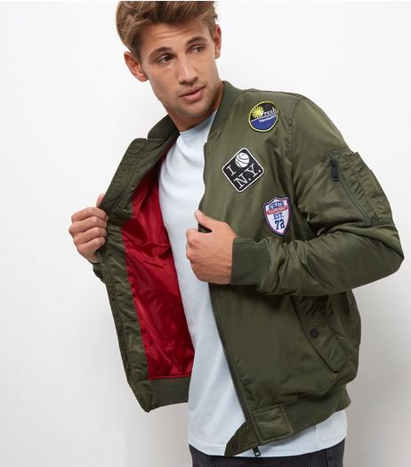 Khaki Badge Bomber Jacket  | New Look