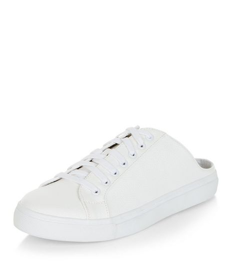 White Lace Up Mule Trainers  | New Look