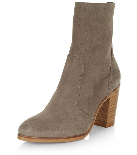 Grey Premium Suede Calf High Block Heel Boots  | New Look