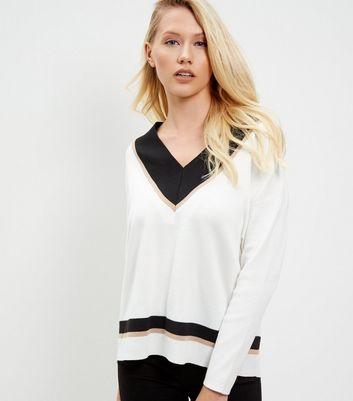 white-contrast-v-neck-jumper