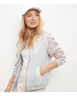 Shell Pink Reversible Lace Bomber Jacket  | New Look