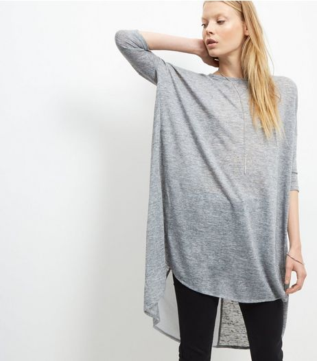 Pale Grey Fine Knit Split Back Oversized Top  | New Look