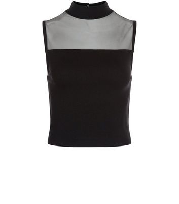 Black Mesh Panle Funnel Neck Crop Top