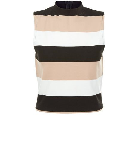 Shell Pink Stripe Funnel Neck Sleeveless Top  | New Look