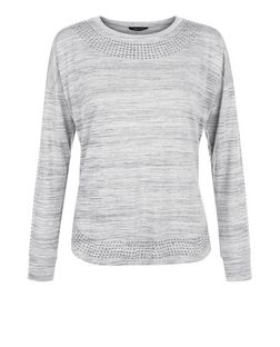 Grey Space Dye Studded Sweater | New Look