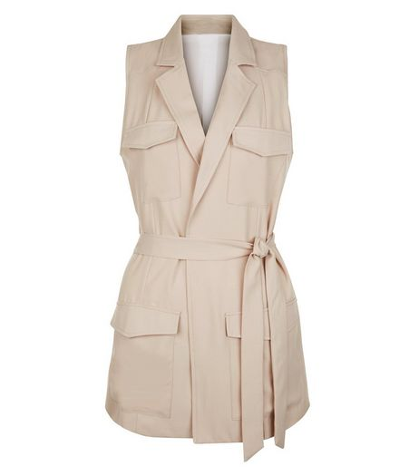 Cameo Rose Stone Pocket Sleeveless Jacket | New Look