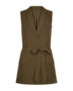 Cameo Rose Khaki Pocket Sleeveless Jacket | New Look